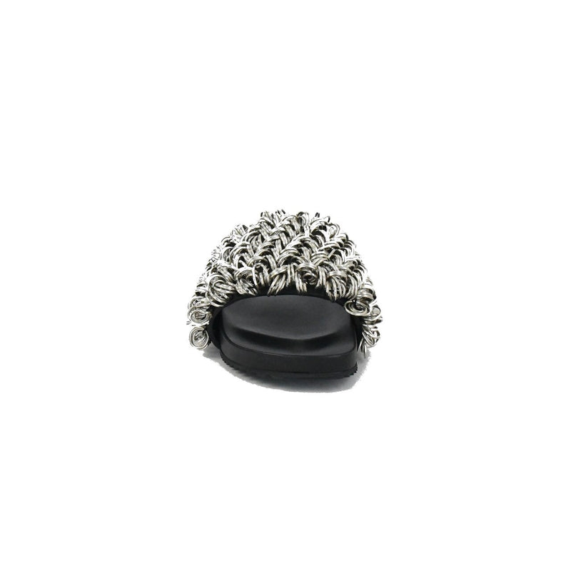 Suki Silver Ring Slipper Black