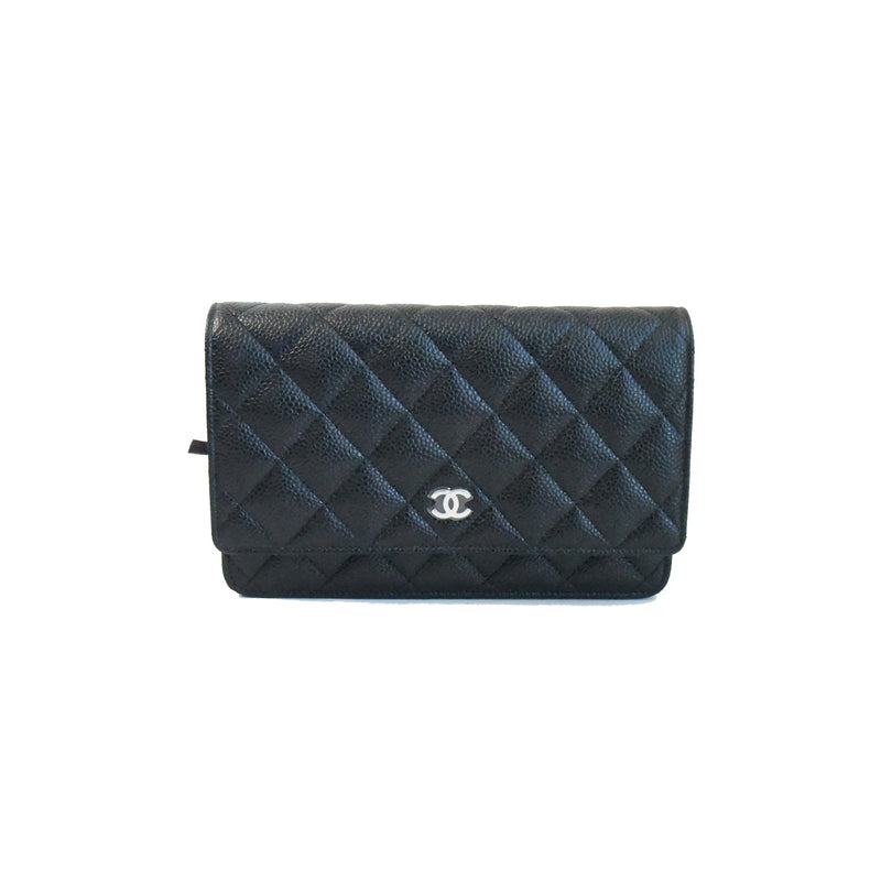 Chanel Classic Caiver Wallet on Chain Silver HW Black