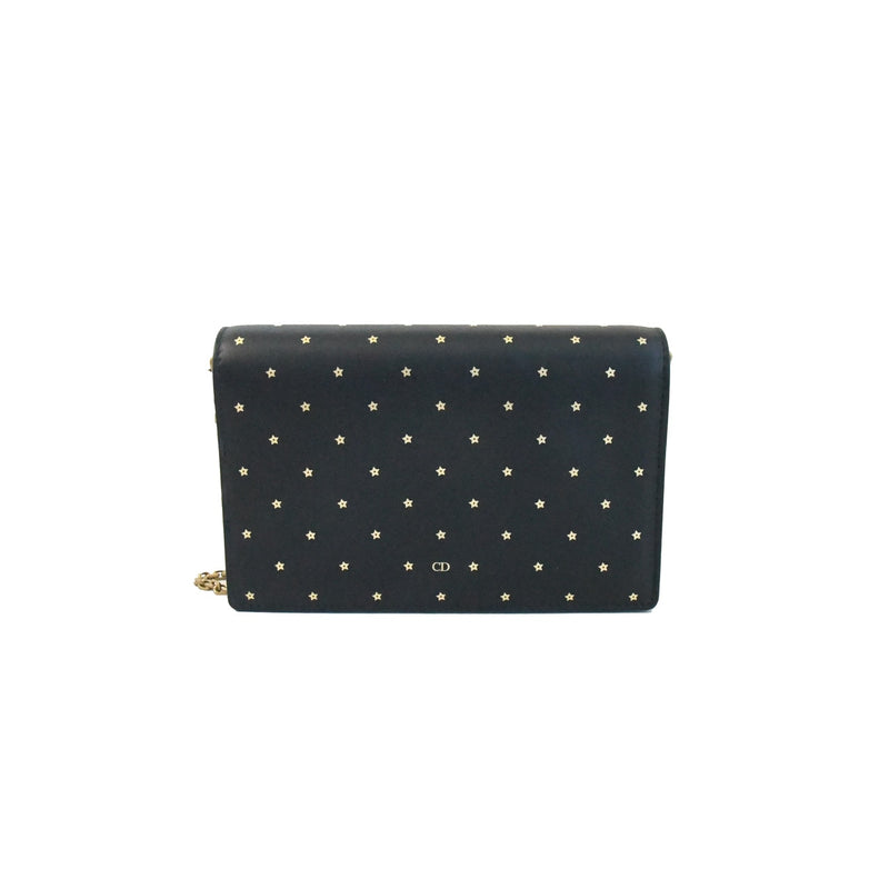 Dior Gold Star Print Wallet on Chain Black
