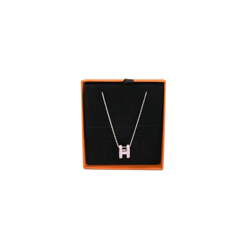 Hermes H Logo Necklace Rose Pink