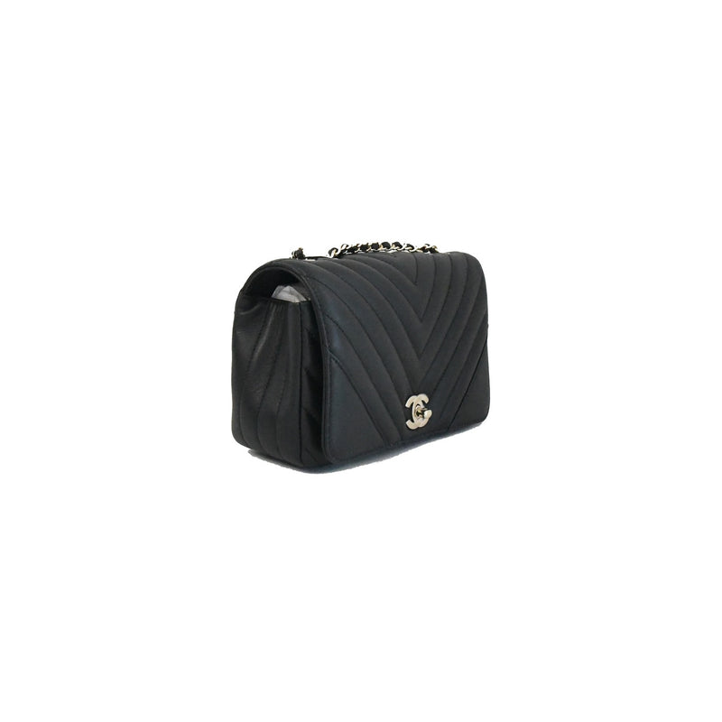 Chanel Chevron Mini CF Statement Calf Black