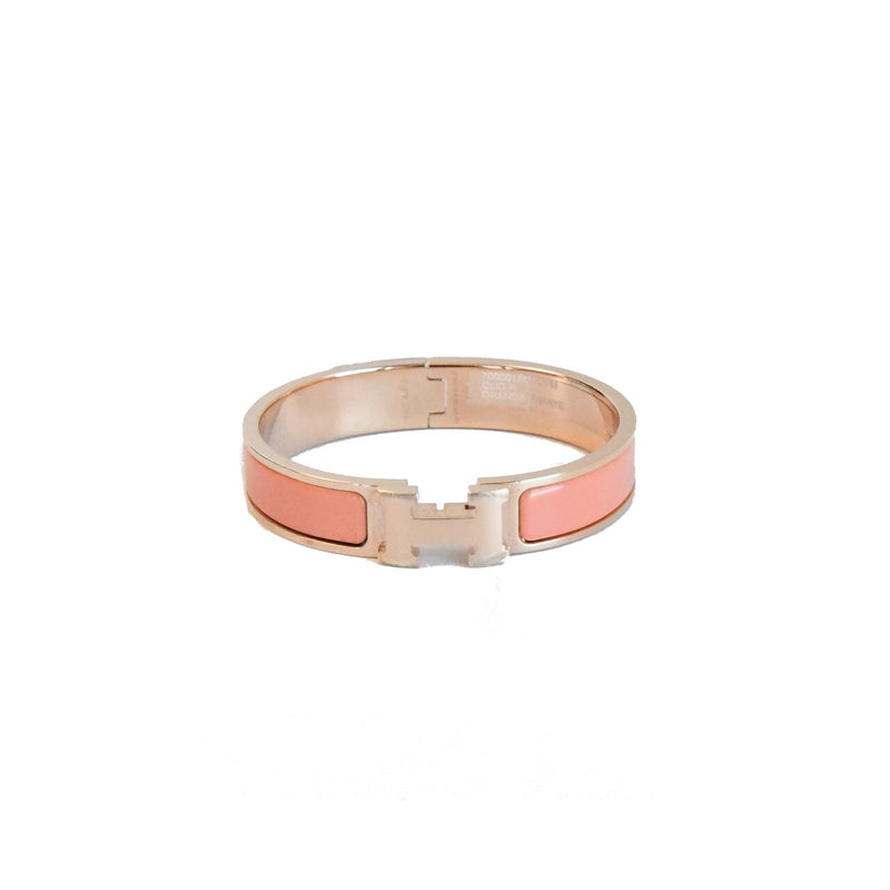 Hermes H Bracelet Rose Gold Light Orange PM