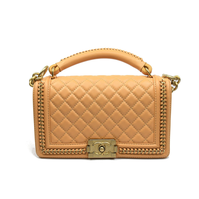 Lambskin Quilted Boy Bag (Medium) /Beige