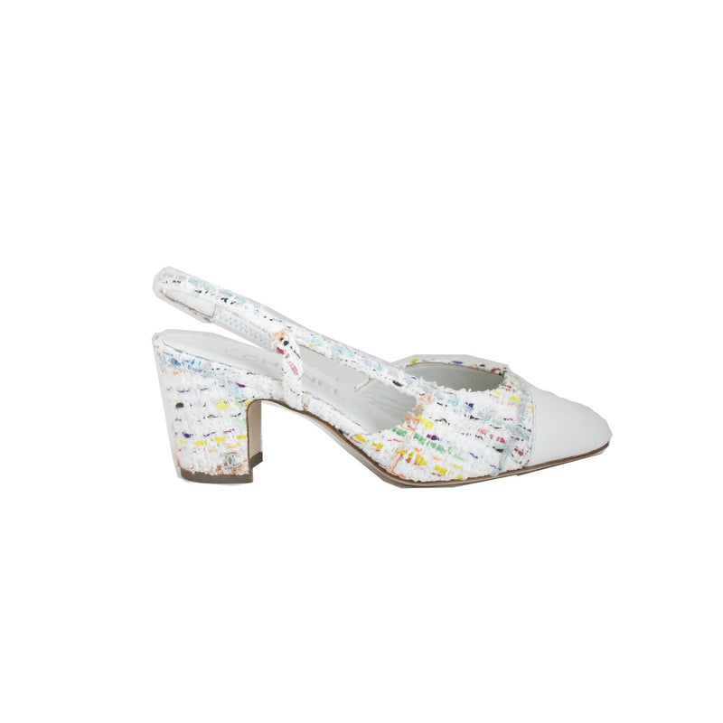 Tweed Lamdskin Sling Back White