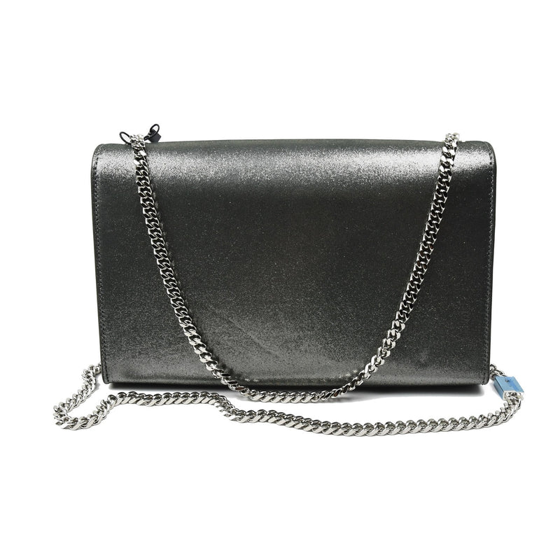 Wallet on Chain Bag (Medium) / Silver Metallic Leather