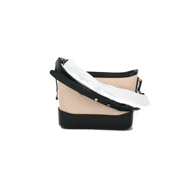 Gabrielle Hobo Bag Small Beige Black