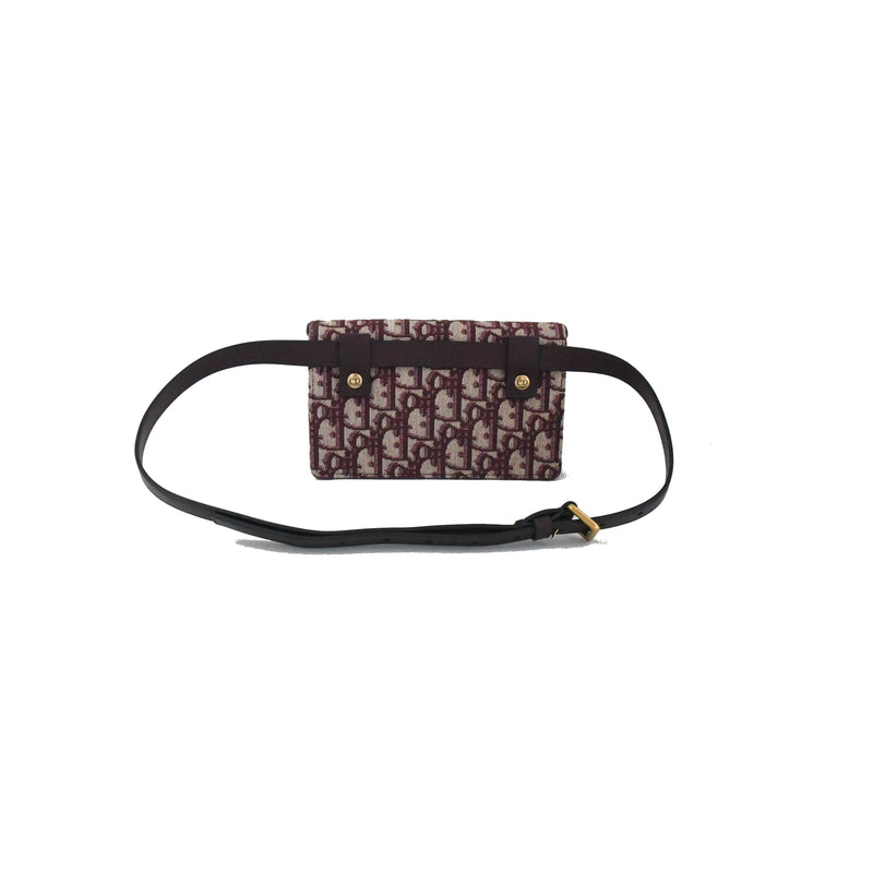 Saddle Belt Bag Burgundy Beige