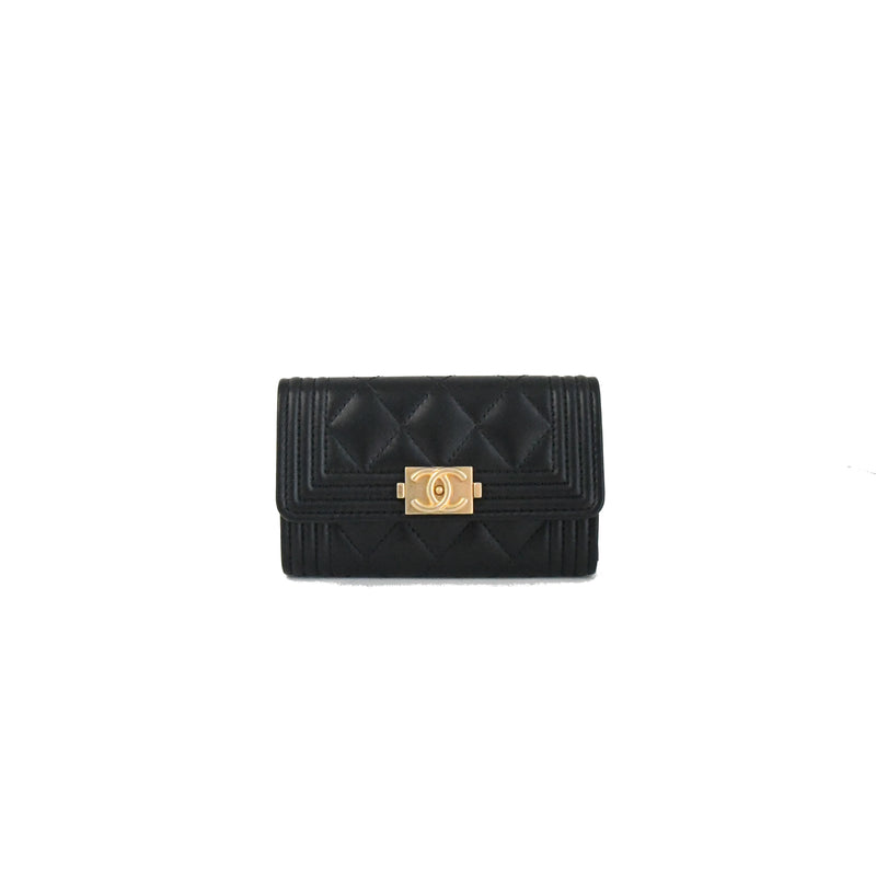 Leboy Lambskin Card Case Gold HW