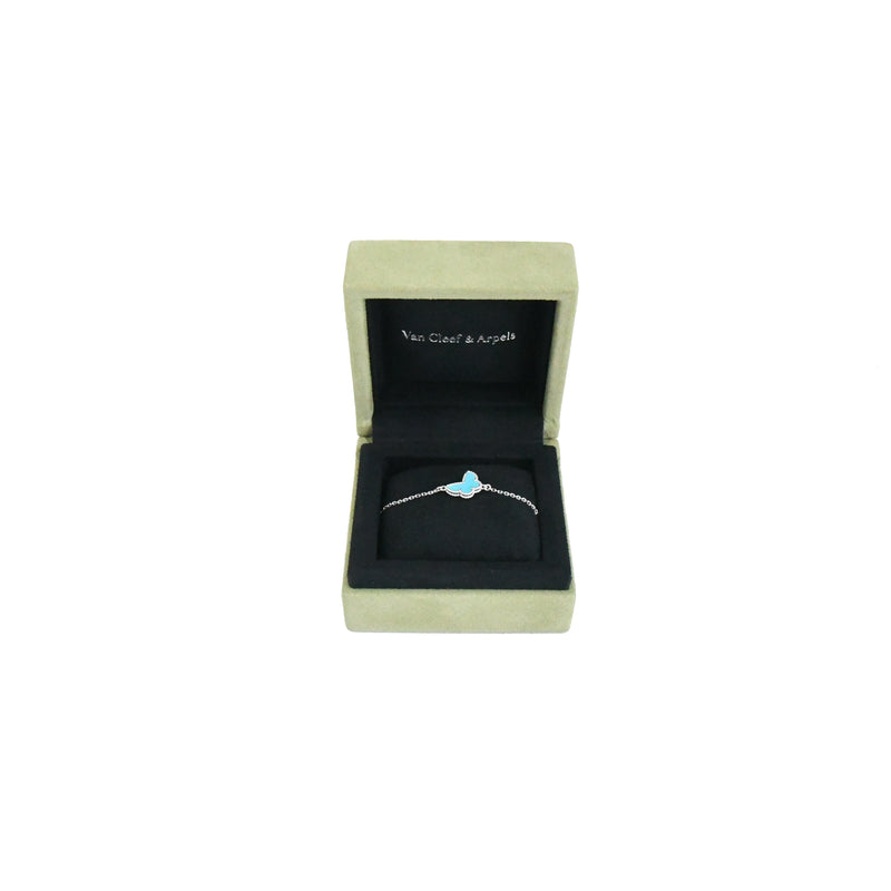 Sweet Alhambra Butterfly Bracelet White Gold Turquoise