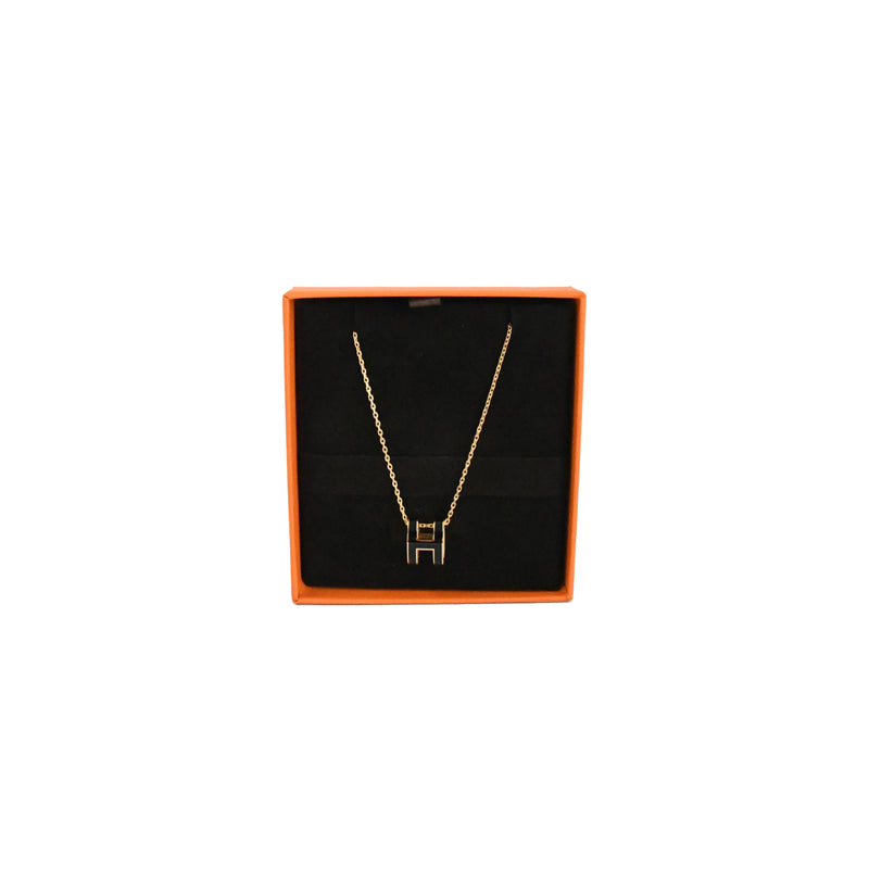 Pop H Pendant Necklace Gold HW Black