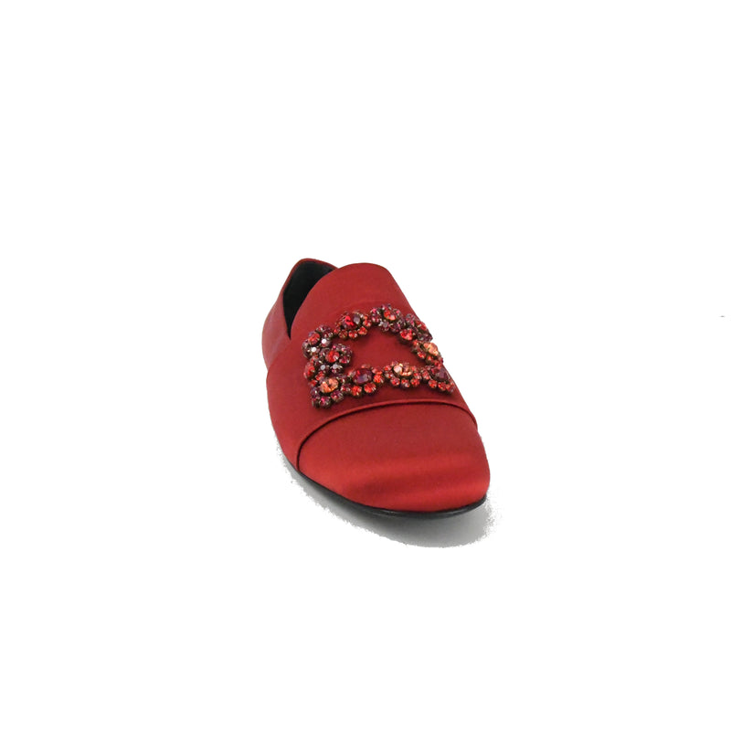 Flower Strass Embroidery Satin Loafer Ciliegia