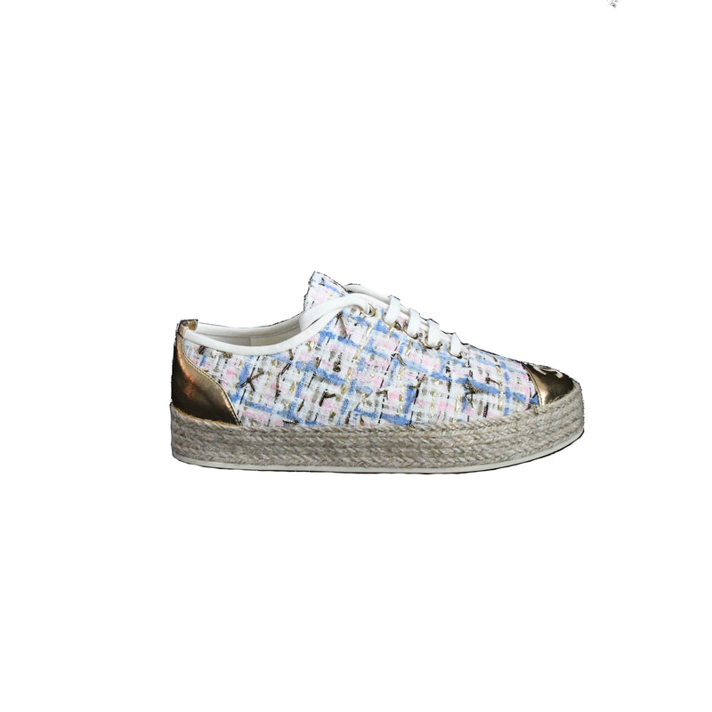 Laminated Tweed Lace Up Sneaker Pink Blue Gold