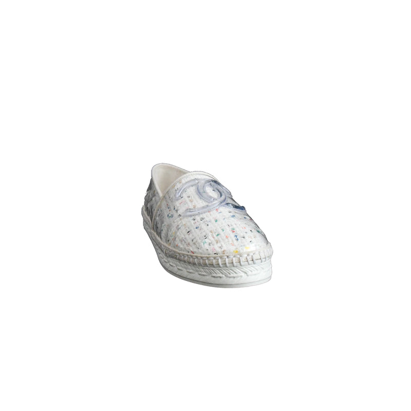 Transparent Tweed Plastic Espadrilles White