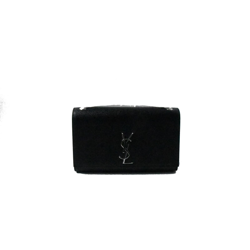 YSL Kate Silver Hardware Leather Black