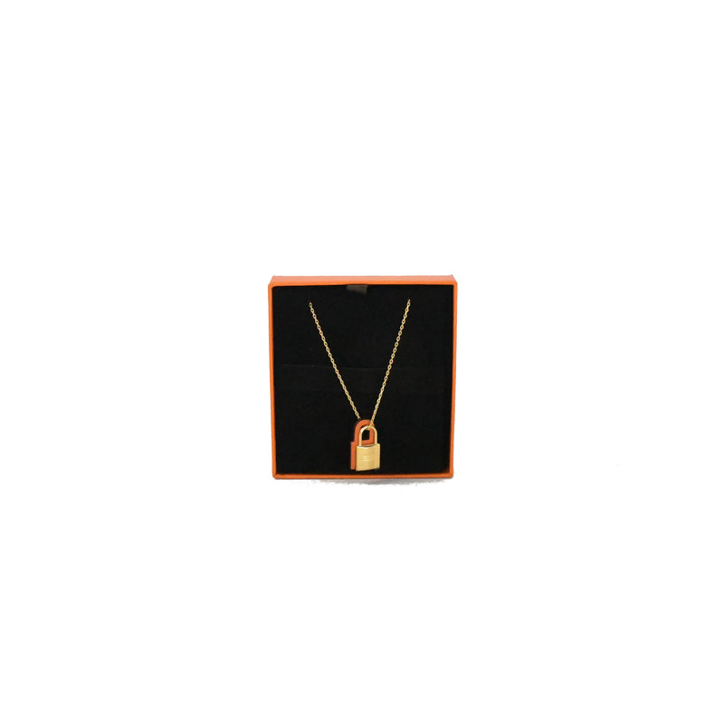 Okelly Necklace Gold HW with Orange Leather