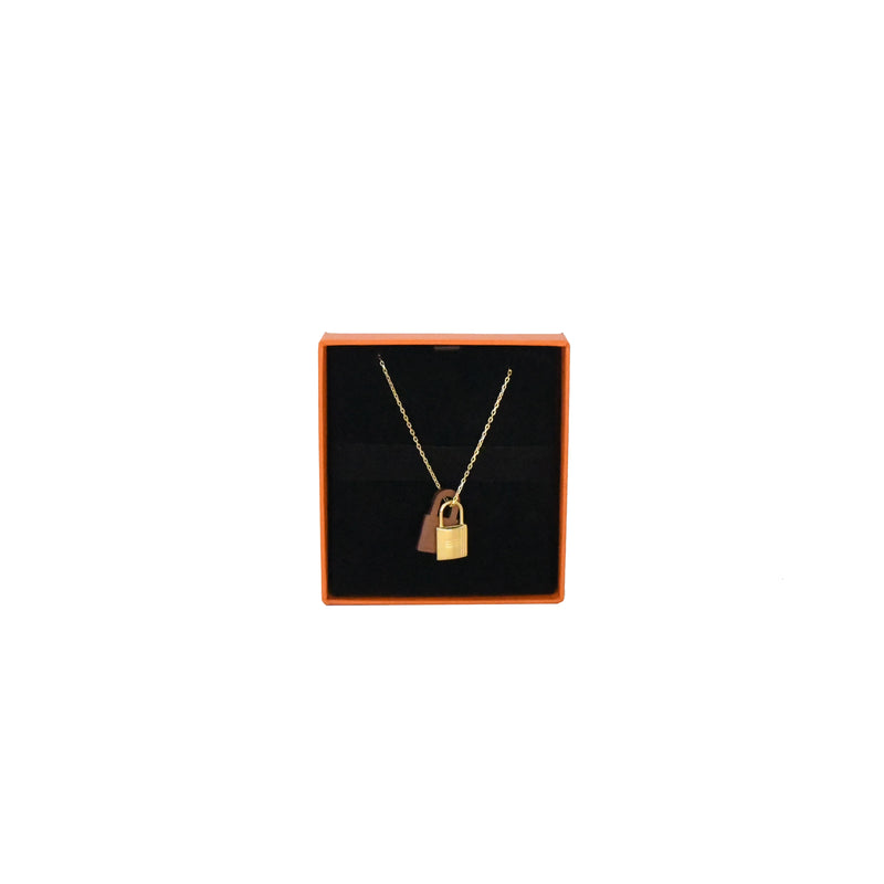 Okelly Necklace Gold HW with Brown Leather