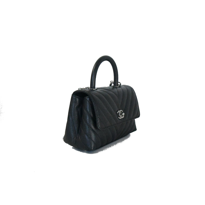 Mini Coco Chevron Silver Hardware Bag Black