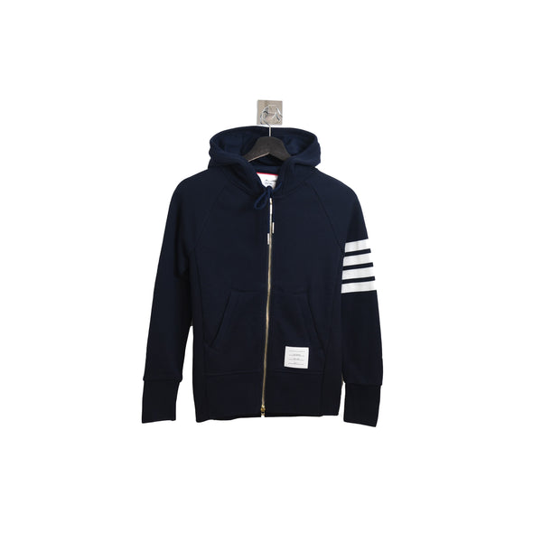 Classic 4 Stripe Zip Up Hoodie Navy