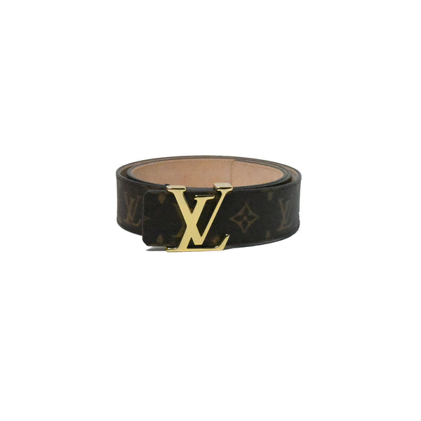 LV Initial Gold Buckle Monogram Belt Brown