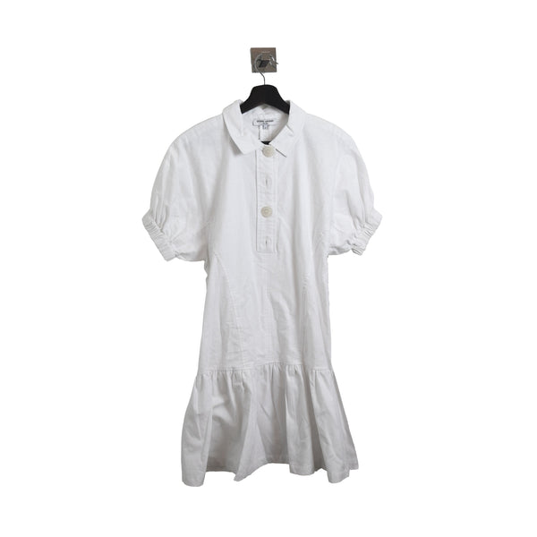 4 buttom Shirt Dress White