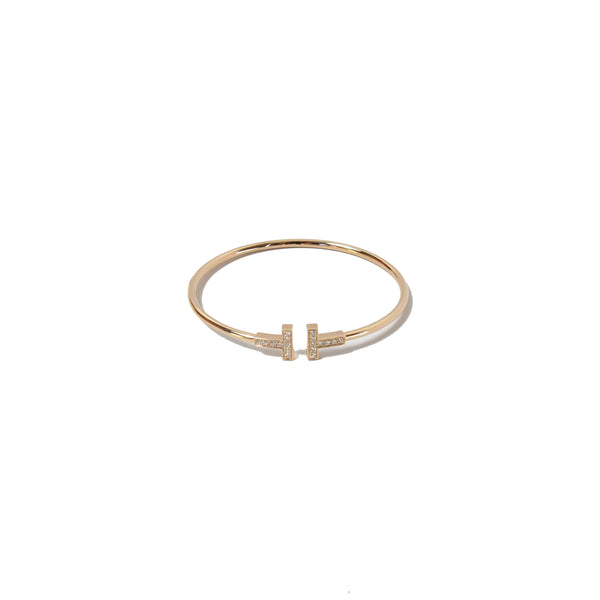 Tiffany T Diamond Wire Bracelet Rose Gold