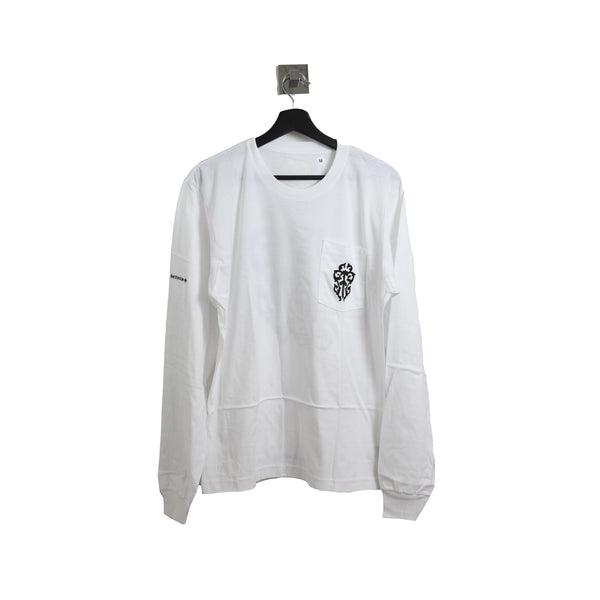 Chrome Hearts Black Sword Icon Long Sleeve Tee White