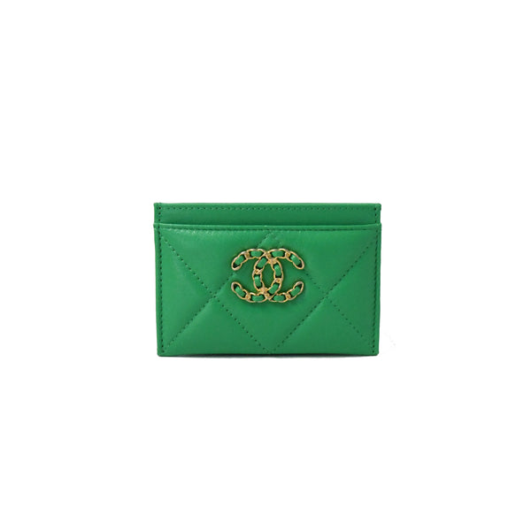 Chanel 19 Card Case Green