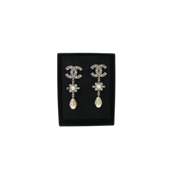 Chanel Gold Pearly White & Crystal Earrings
