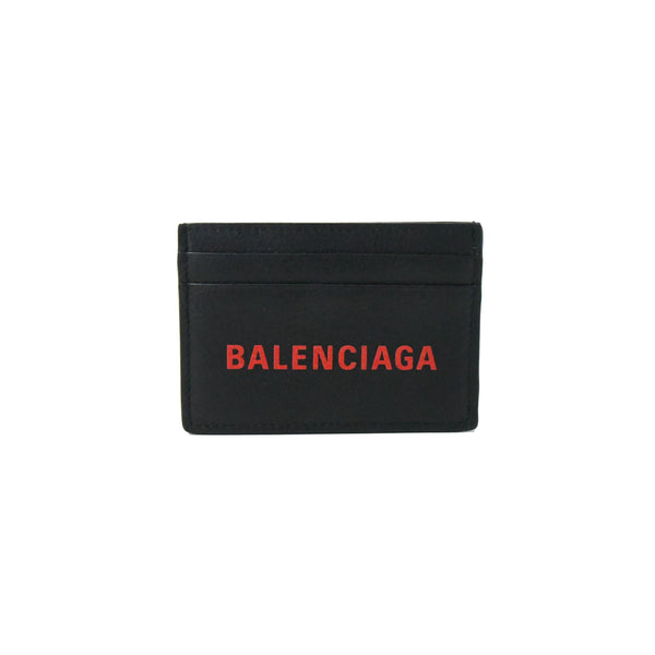 Balenciaga Red Logo Card Case Black