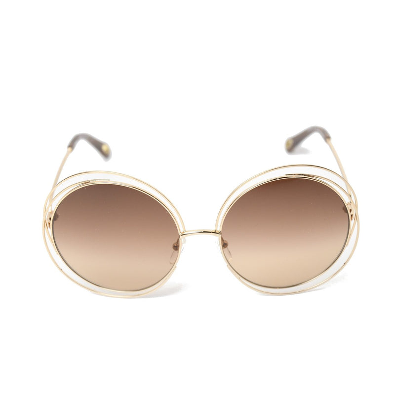 Carlina Round Metal Sunglasses /Gold-Light Brown
