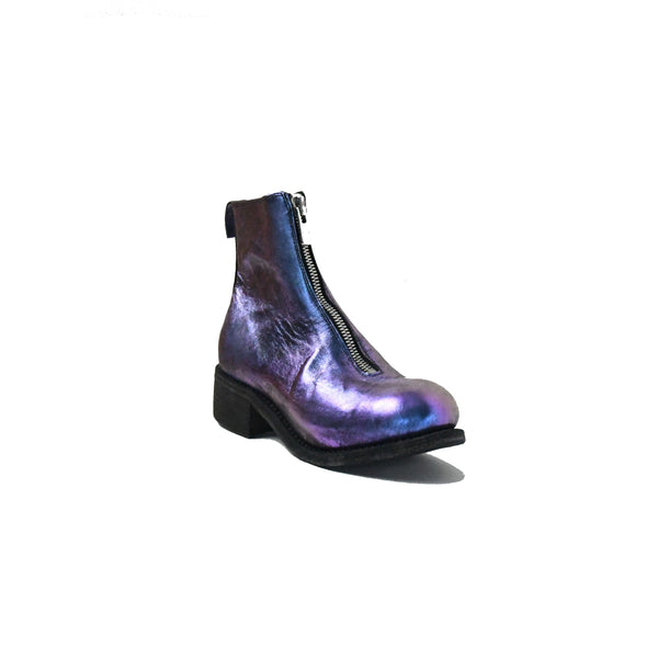 PL1 Horse Leather Laminated Front Zip Ankle Boots Lined Nebula