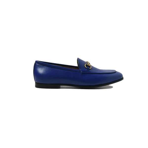 Gucci Moccasi Leather Flat Electric Blue