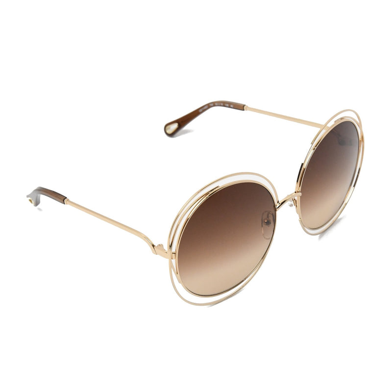 Carlina Round Metal Sunglasses /Gold-Dark Brown