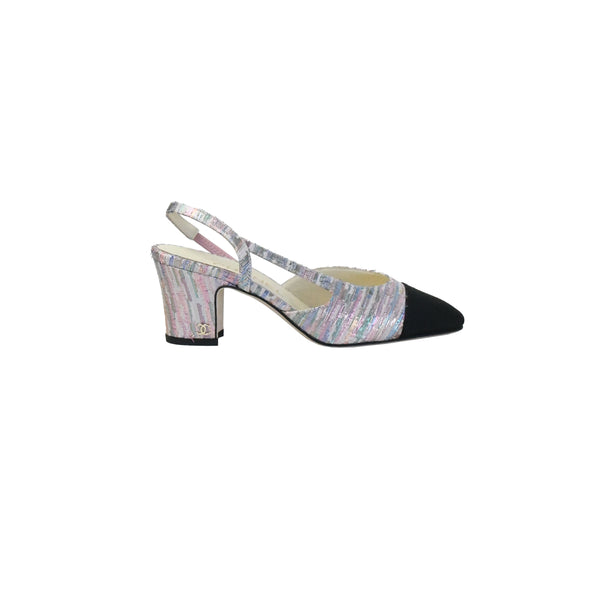 Chanel Tweed Slingback Multi Iridescent Black