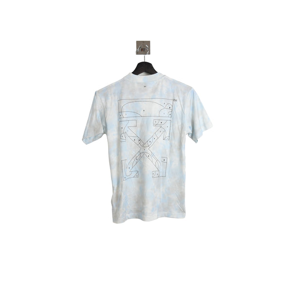 Off-White Tie Dye Casual Tee Light Blue