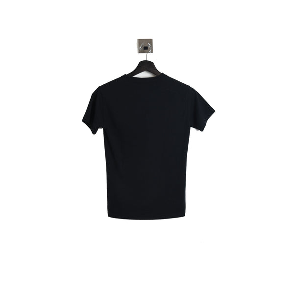 Balenciaga Rainbow Embroidered Logo Tee Black