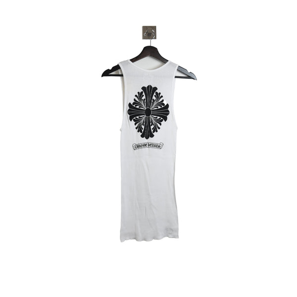 Chrome Hearts Back Black Cross Logo Tank Top White