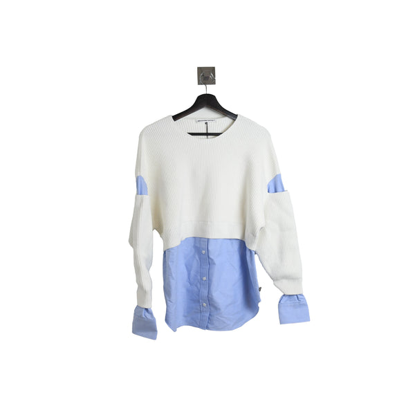 Alexander Wang Ribbed Bi-Layer Pullover with Oxford Shirt Ivory