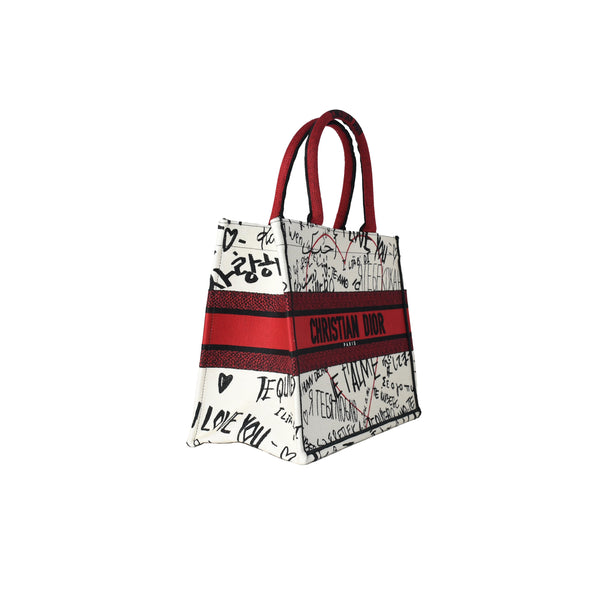 Small Dior Book Tote With Dioramour Graffiti