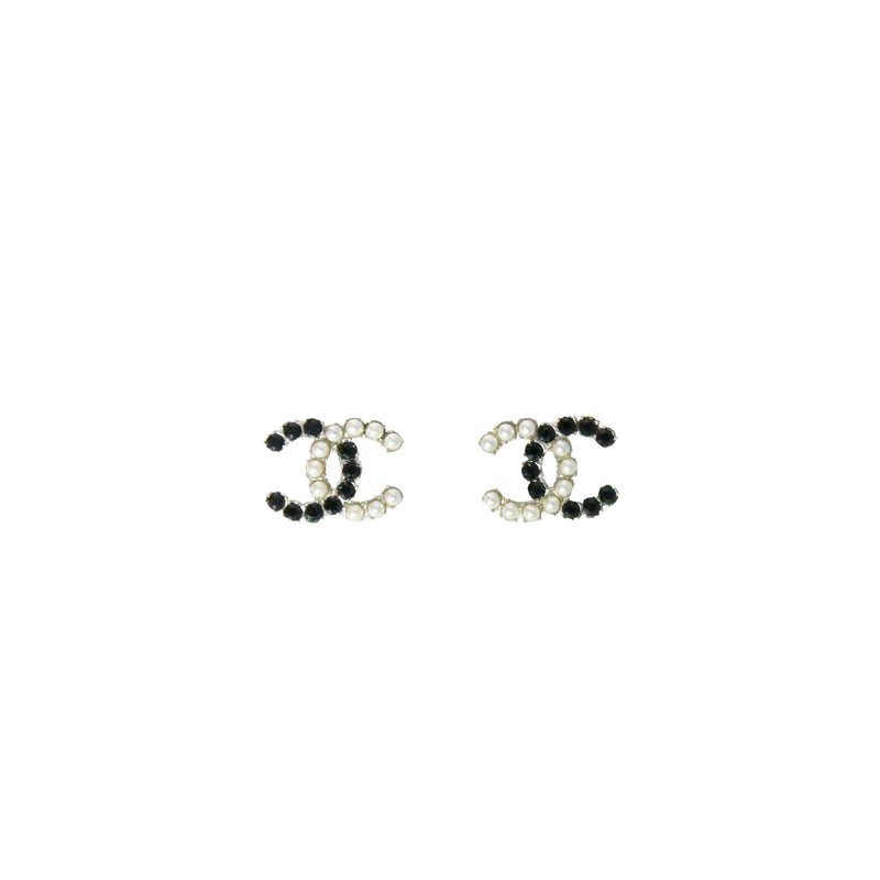 Chanel CC Pearl and Black Swarovski Earrings
