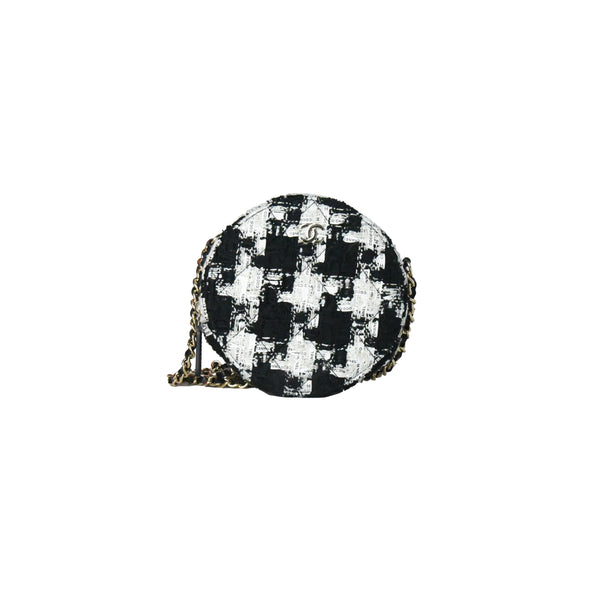 Chanel Houndstooth Classic Clutch with Chain Gold Hardware Black White