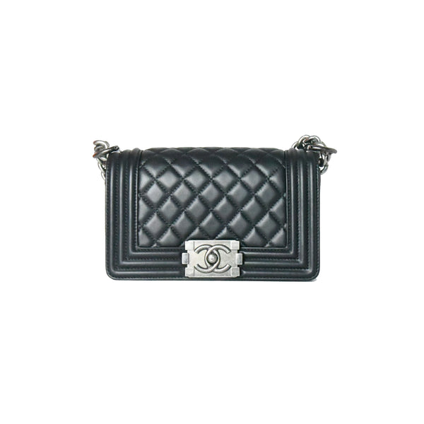 Chanel Leboy Small Calf Ruthenium-Finish Bag Black