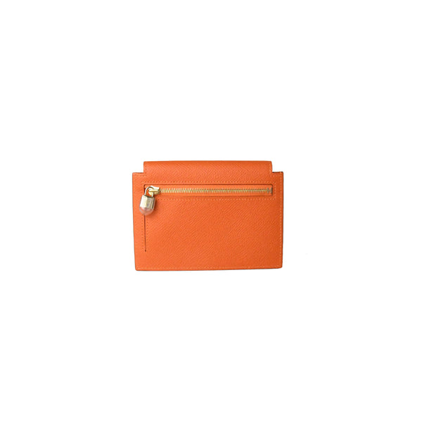 Hermes Kelly Pocket Epsom Compact Wallet Orange