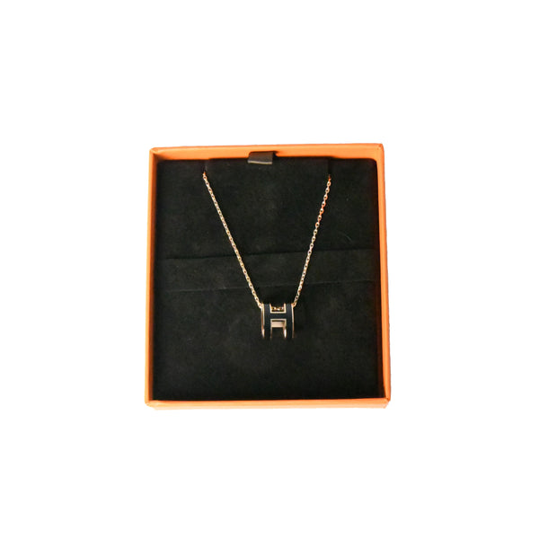 Pop H Pendant Necklace Rose Gold HW Black