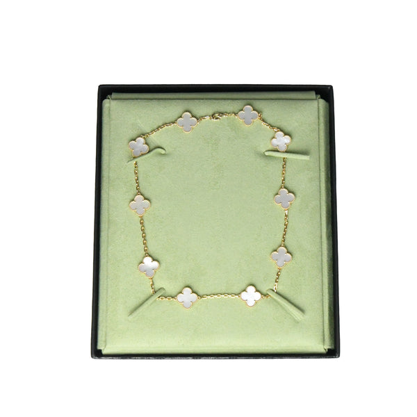 Vintage Alhambra Necklace 10 Motifs Gold Mother of Pearl