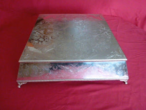 Square Cake Stand (Silver Plate & Knife )