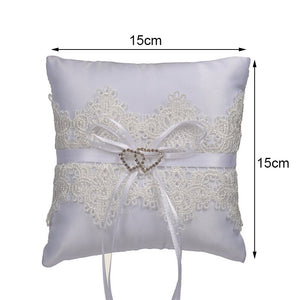 White Lace with Beading Decoration Ring Bearer Pillow