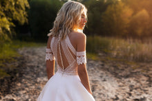 Load image into Gallery viewer, Lace & Satin Bohemian Full Button Back Wedding Down