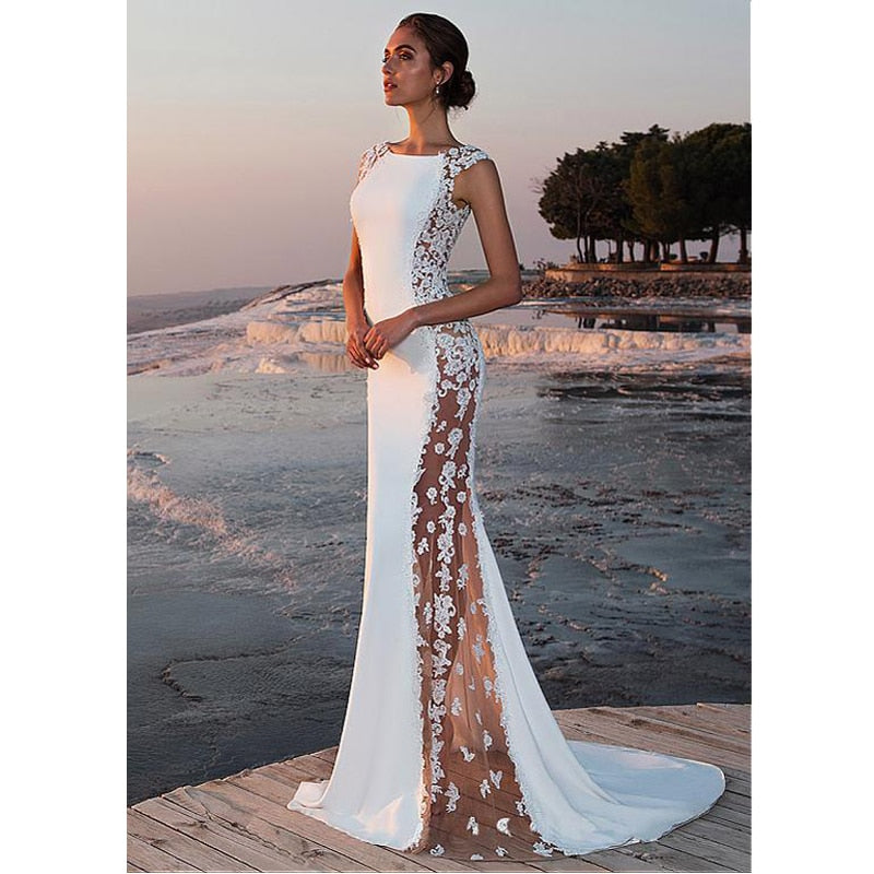 Unique Mermaid Gown with Sheer Floral Applique Panels