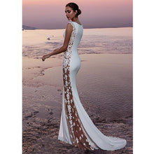Load image into Gallery viewer, Unique Mermaid Gown with Sheer Floral Applique Panels